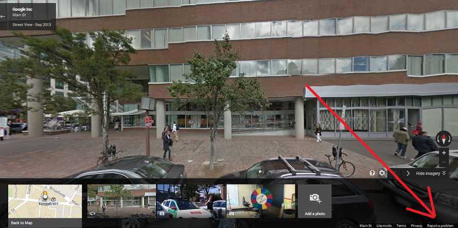 Google Street View Report a Problem