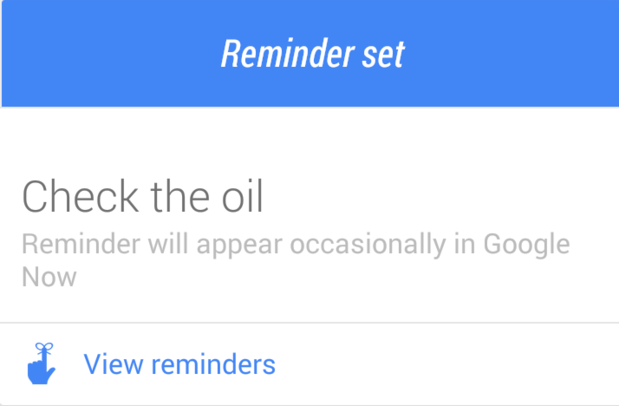 Check Oil Google Now