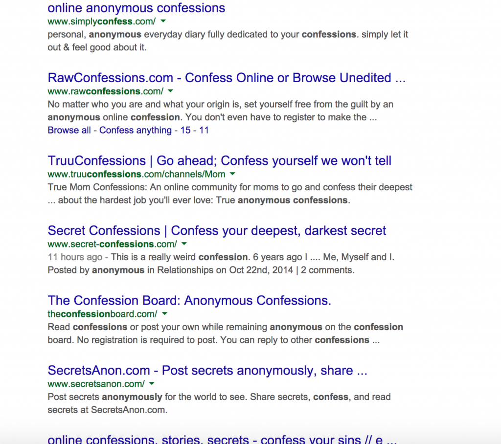 Google Screenshot of all the different confession sites