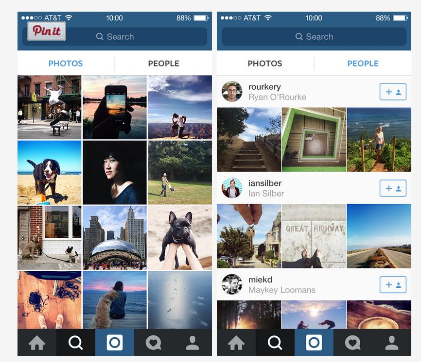Instagram Explore Funtion