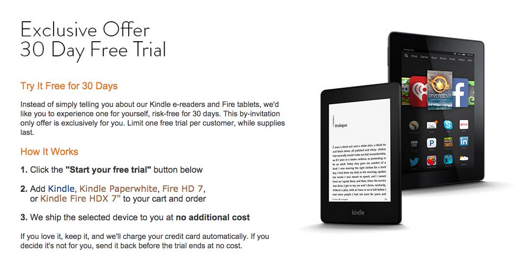 Amazon Free Kindle for 30 days