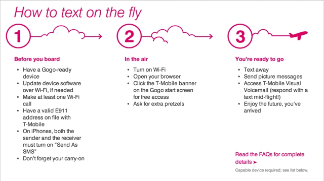 T-Mobile Free inflight Texting