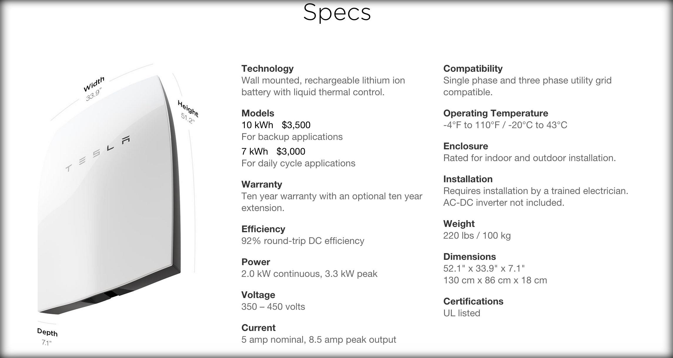 Tesla Powerwall Specs
