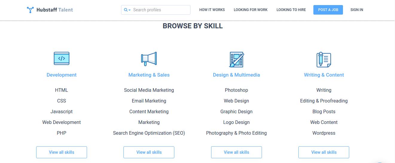 Hubstaff talent home page