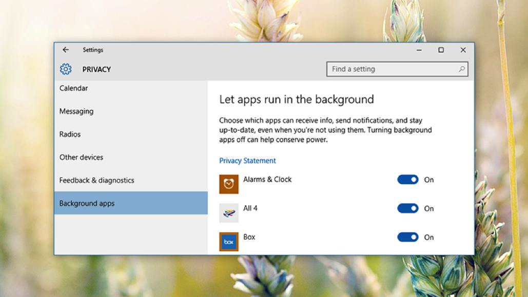 Background Apps Windows 10