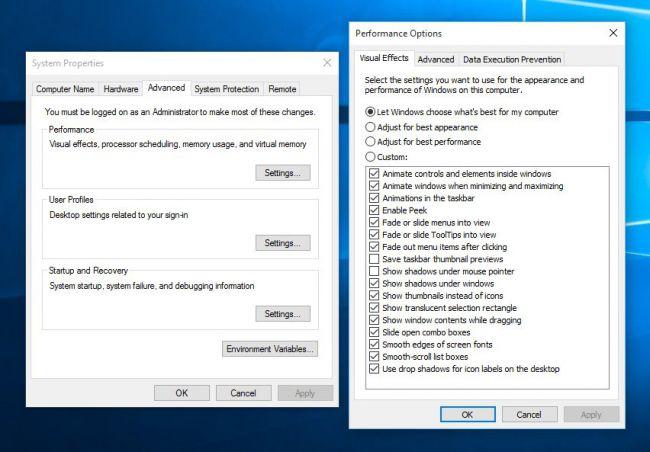 Windows 10 remove animations