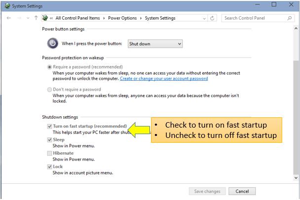 Windows 10 Fast Startup