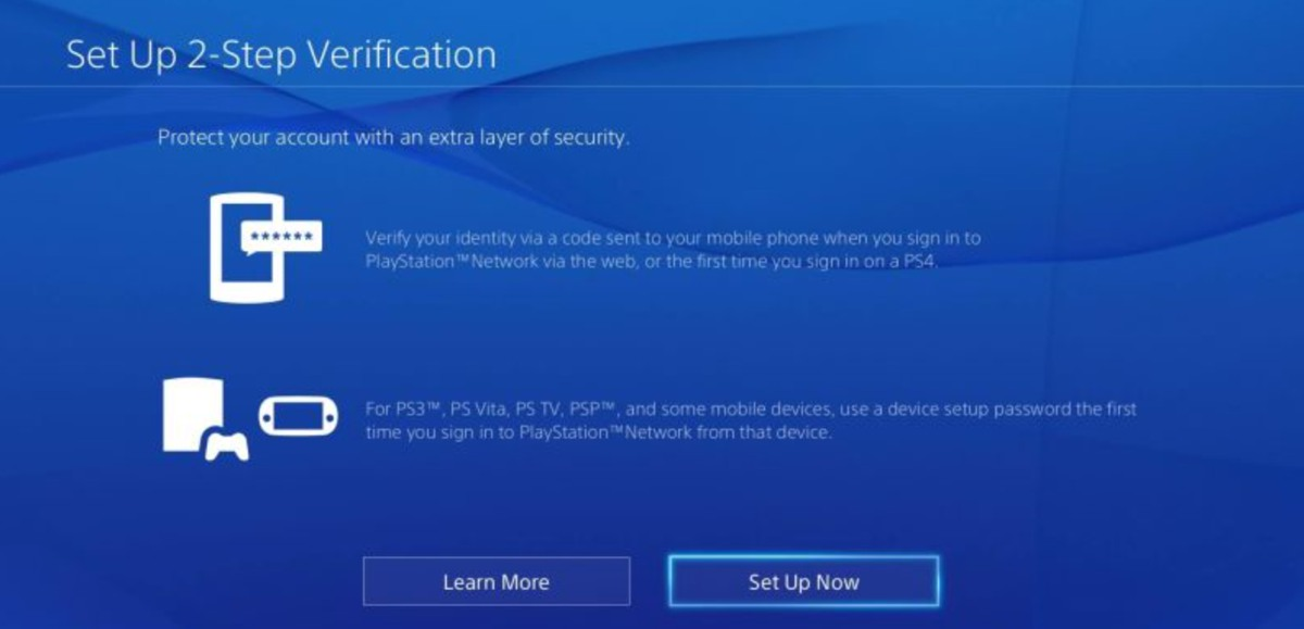 Playstation 2-step verification