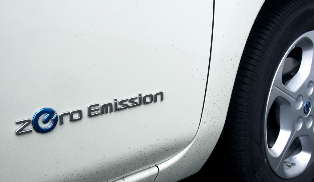 Zero emission electric car logo