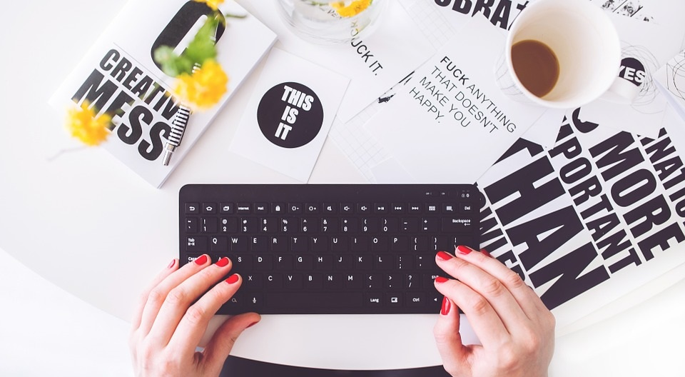 Girl Blogging Woman Typing Writing Blogger