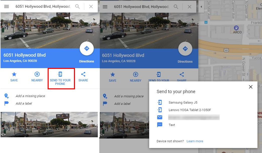 Google Maps Send to Phone