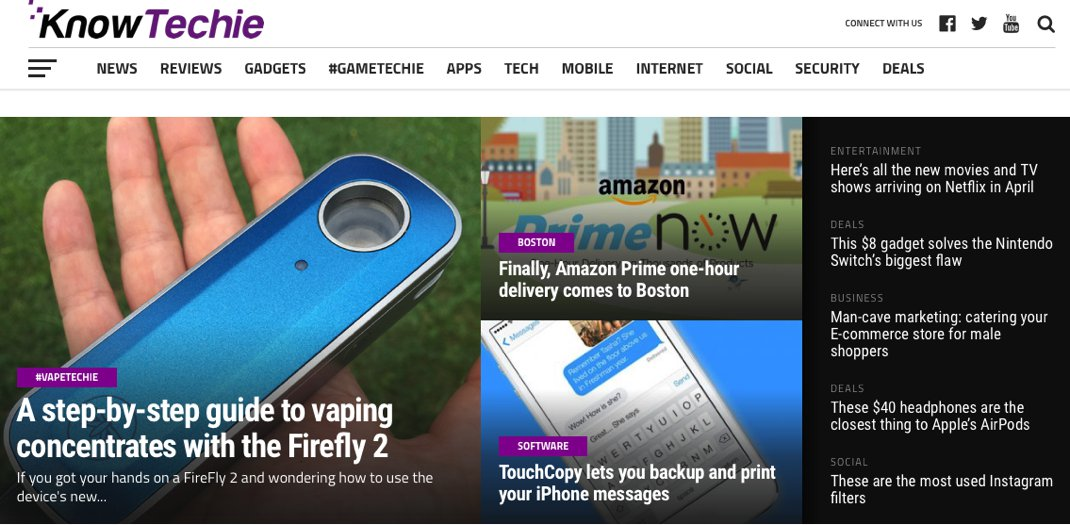 KnowTechie Front Page