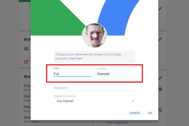 change youtube name