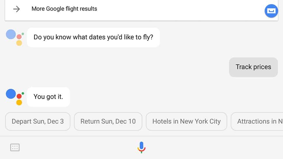 google assistant flights