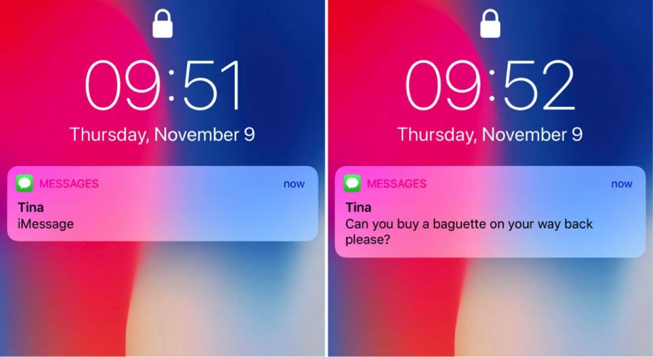 iPhone x notifications