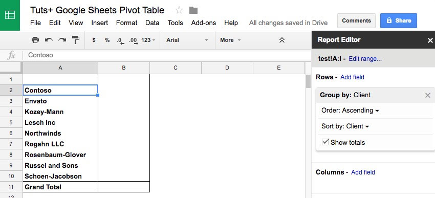 google sheets pivot table