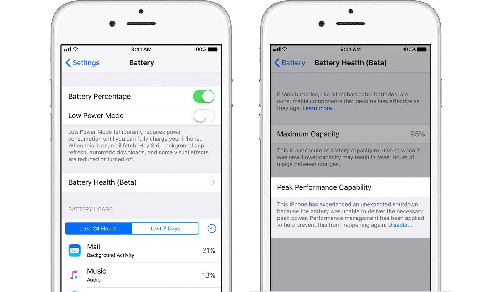 iPhone battery settings