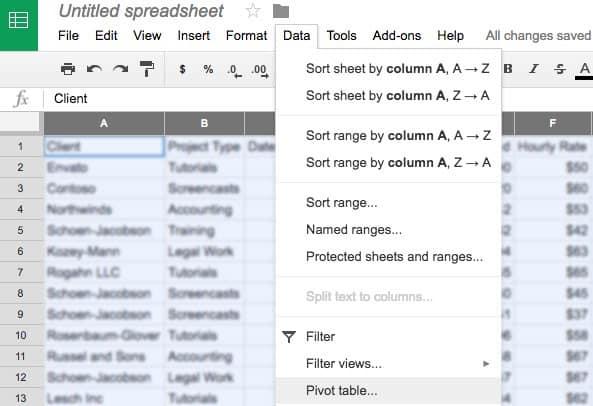 insert pivot table google sheets
