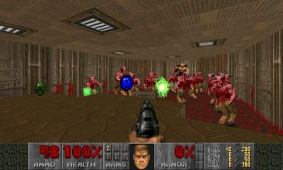 the classic fps doom being played from a roomba map program called doomba