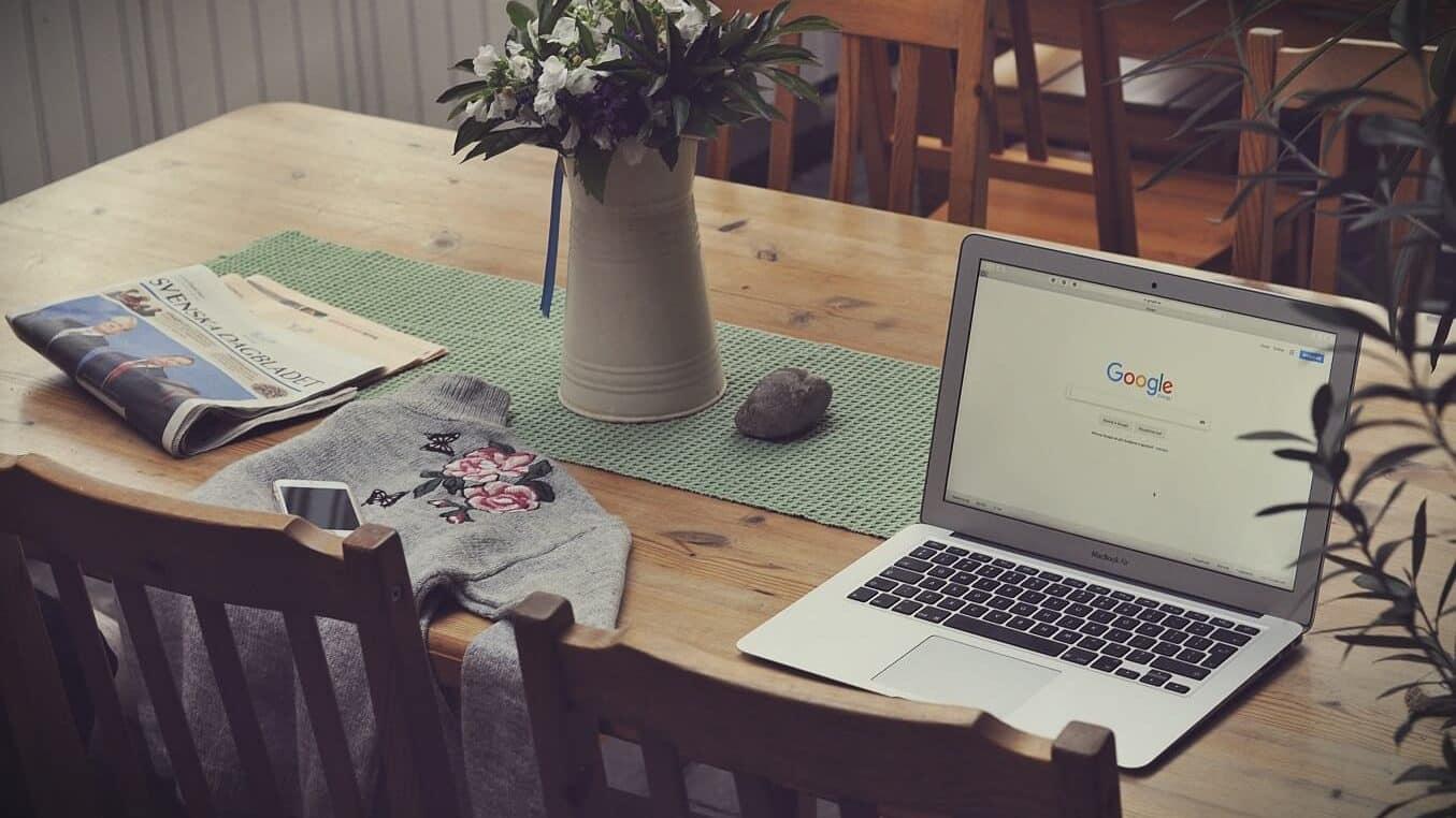 google chrome on laptop on desk