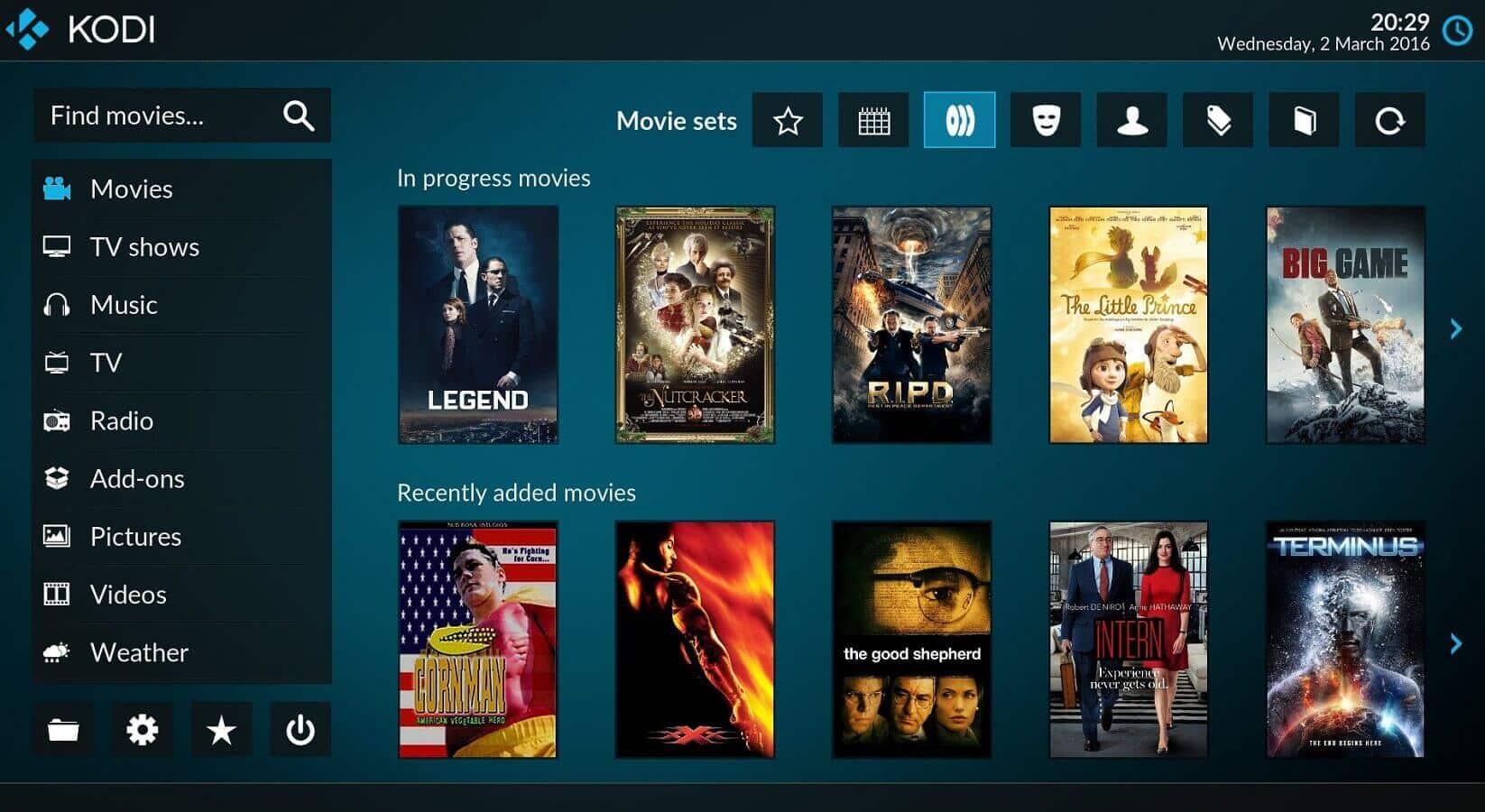 kodi tv screen