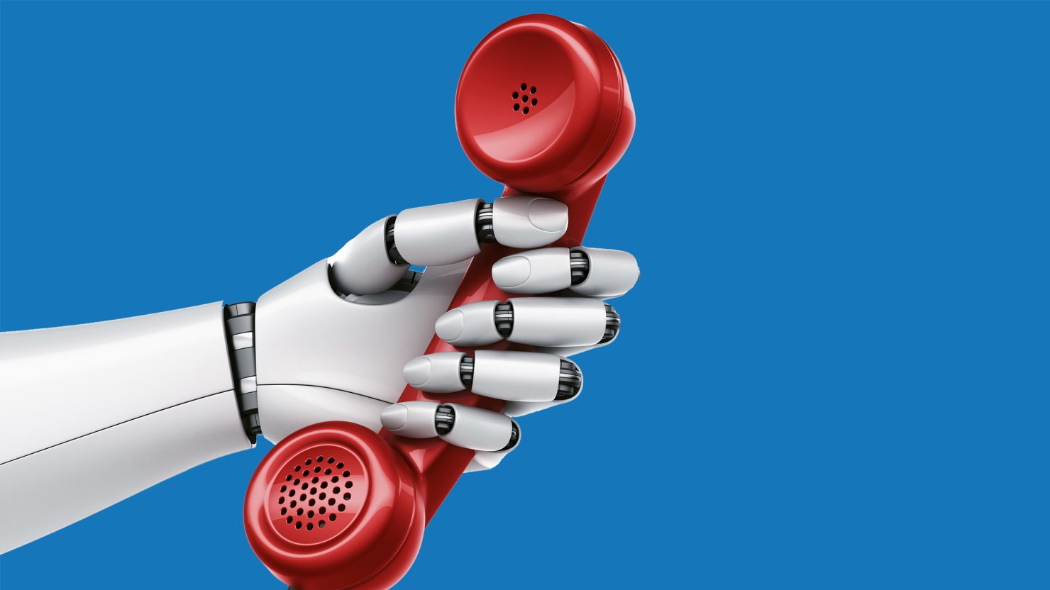 phone being held by a robot for robocalls