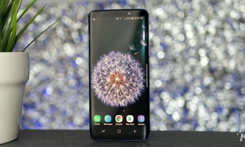 samsung galaxy s9 on bokeh background