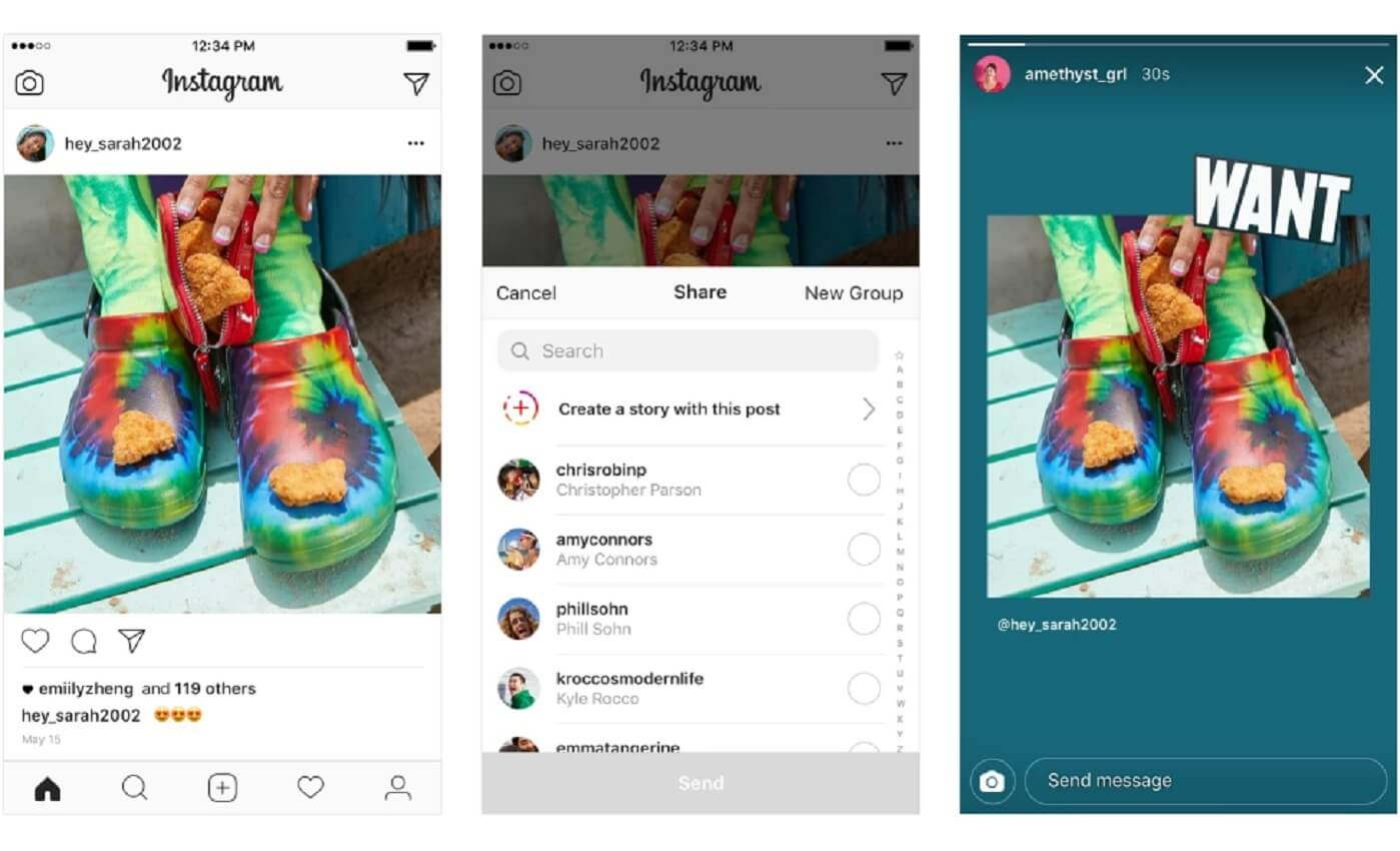 share feed posts instagram