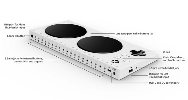xbox adaptive controller showing ports