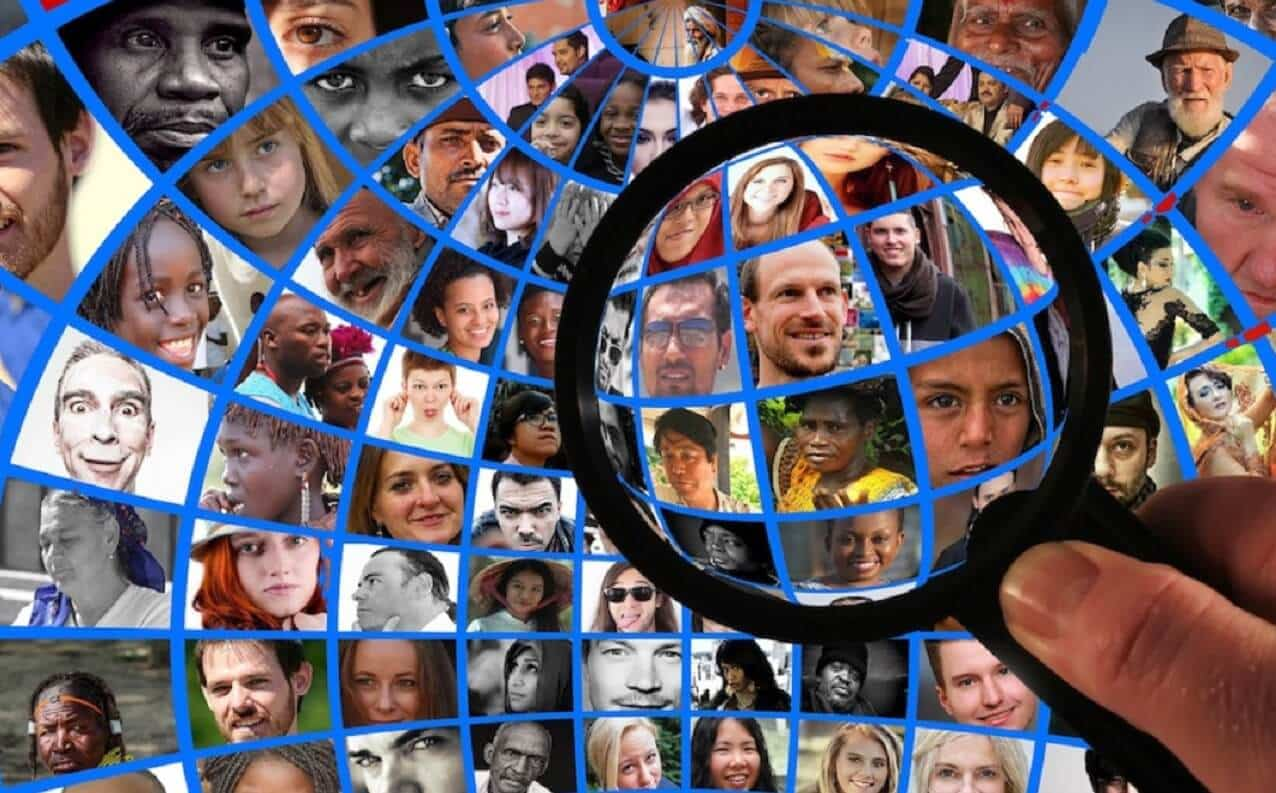 facebook profiles under a magnifying glass for facial recognition