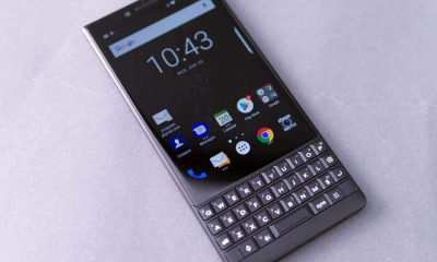 blackberry key2 laid out on table