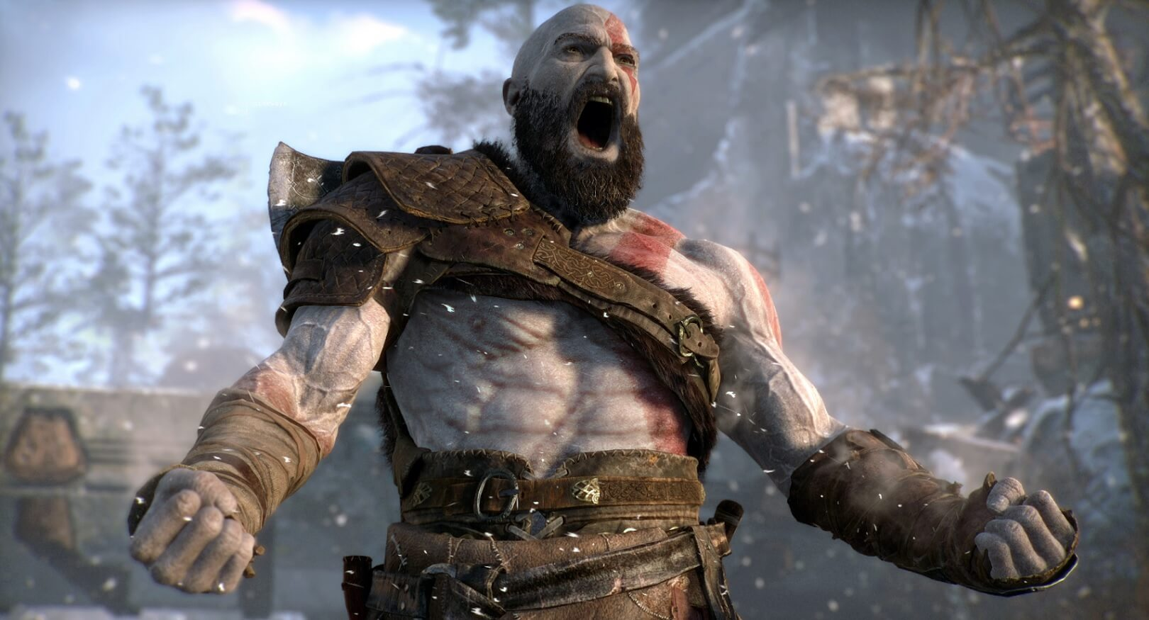 kratos from god of war shouting for game of the year on sony playstation
