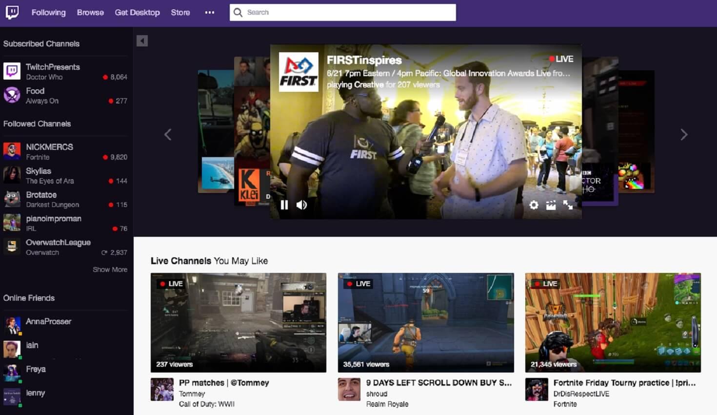 twitch homepage updates