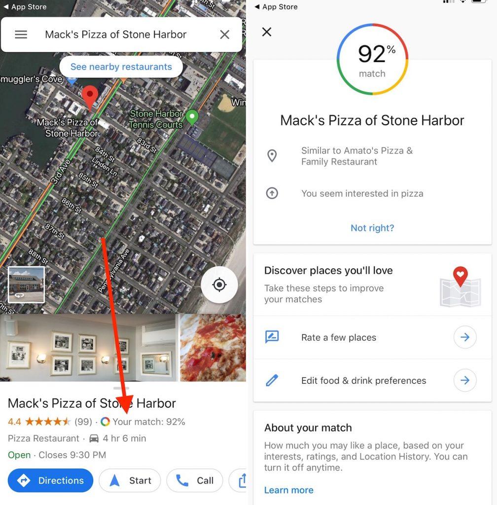 google maps restaurant rating
