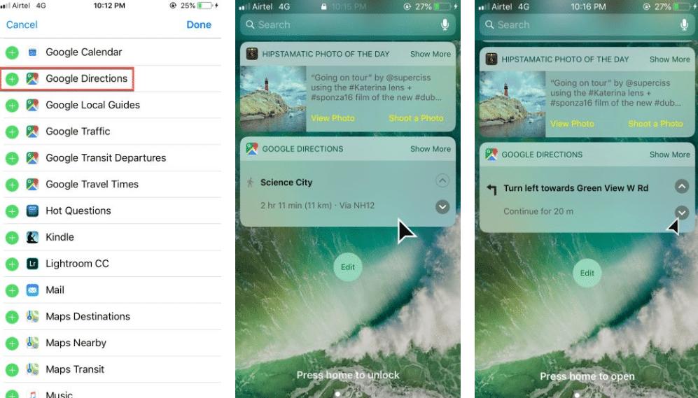 google maps directions iphone widget
