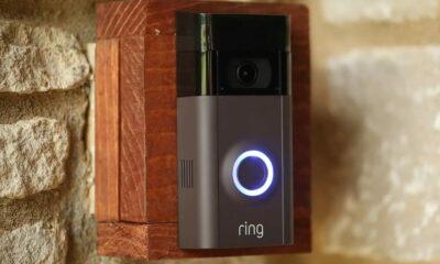 grey ring video doorbell on door