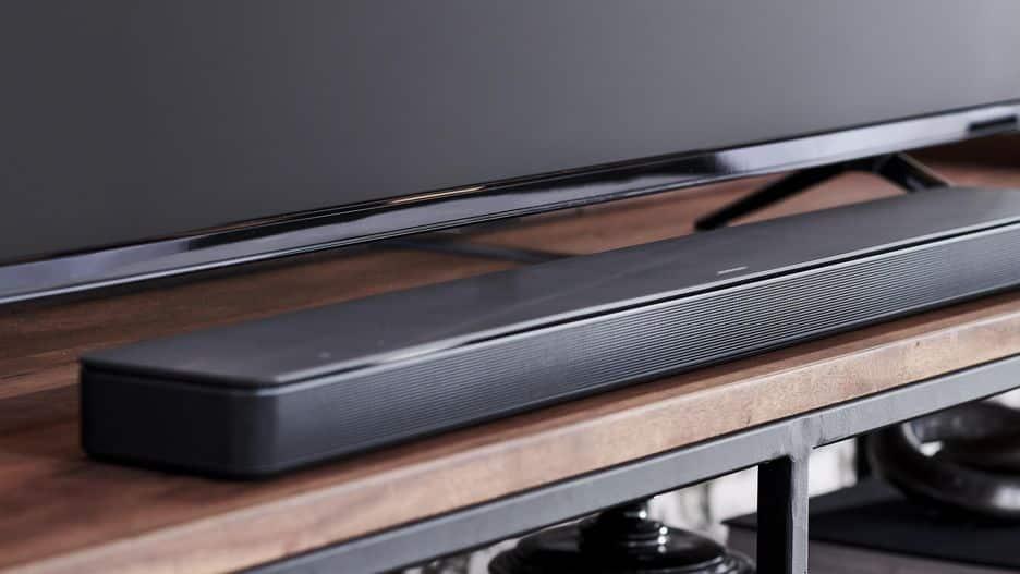 bose soundbar in front of a tv