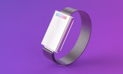 embr wave personal thermostat wristband on purple background