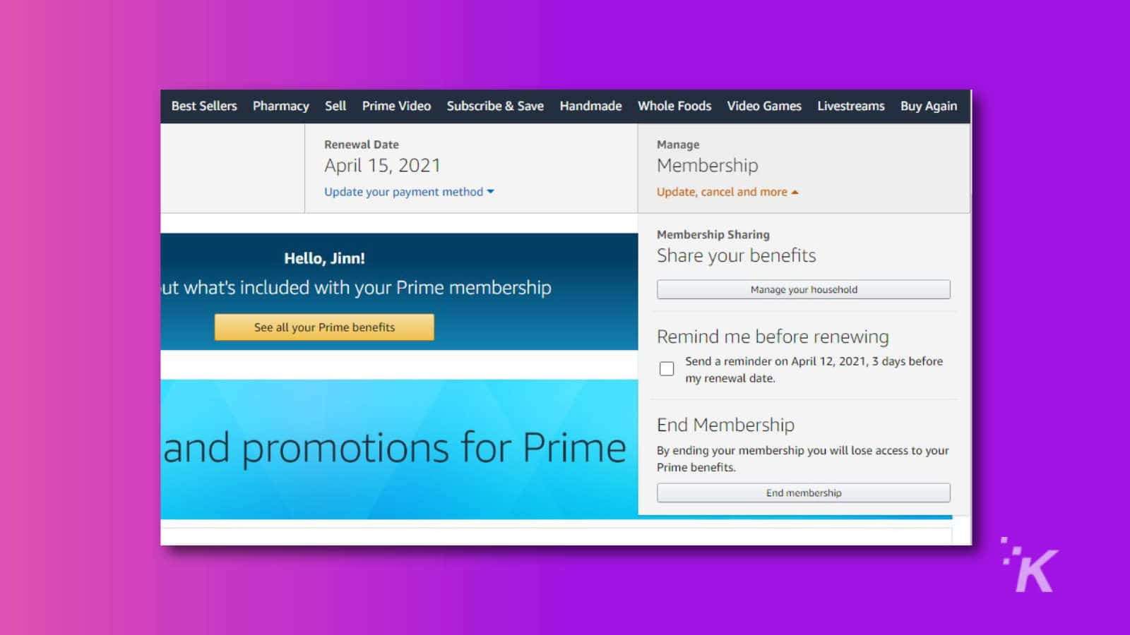 amazon prime membership settings cancel