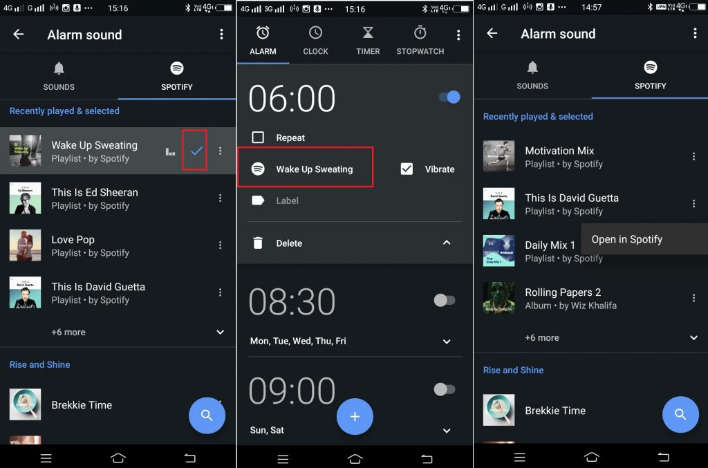 android alarm spotify