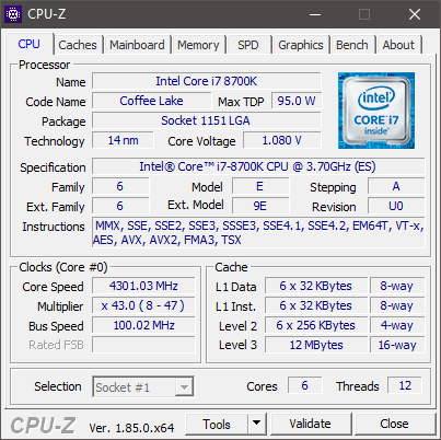 cpuz for the i7-8700k