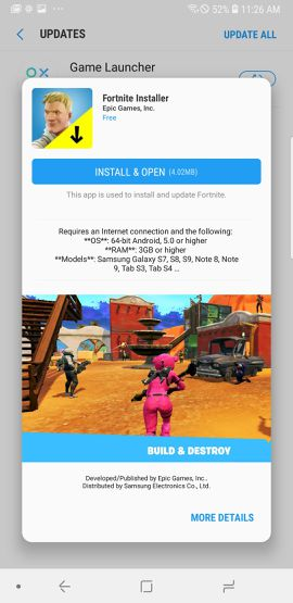 fortnite installer galaxy store