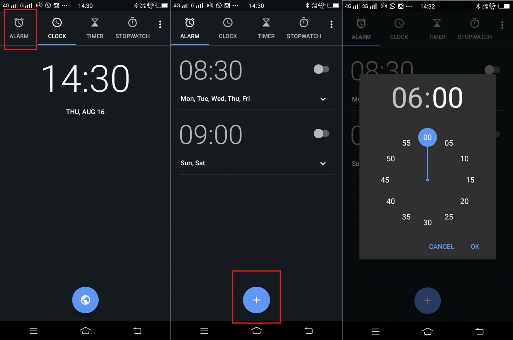 set alarm android