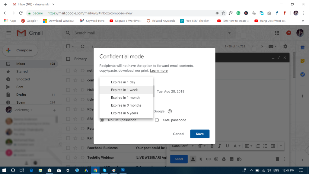 how to use confidential mode with gmail