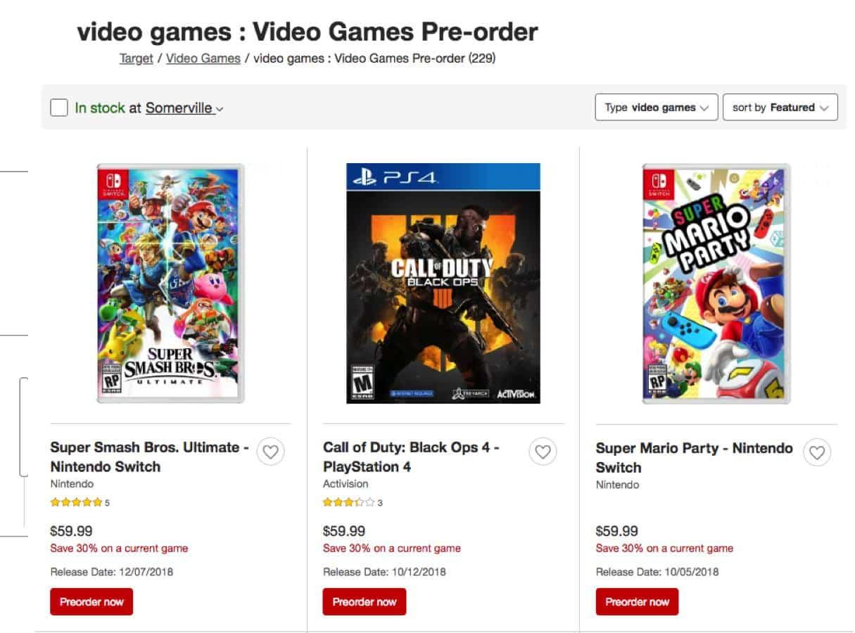 target preorder games