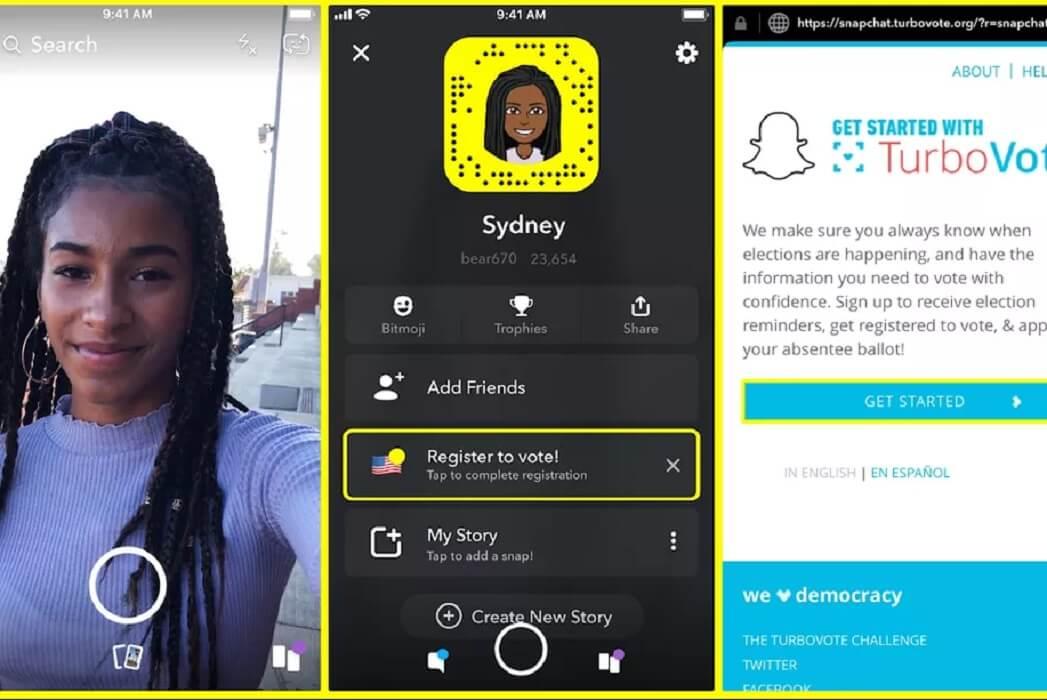 snapchat voting register in app