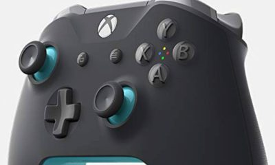grey and blue xbox one controller