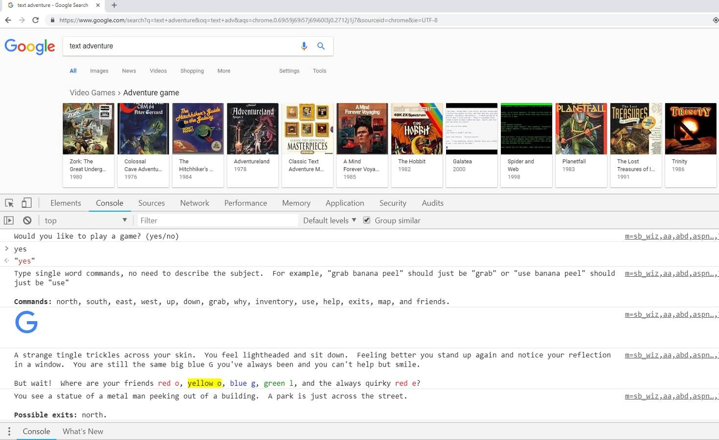 google text adventure game easter egg