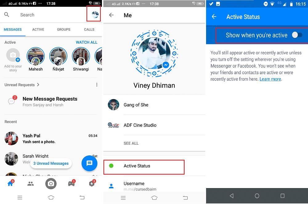 how to go offline in facebook messenger