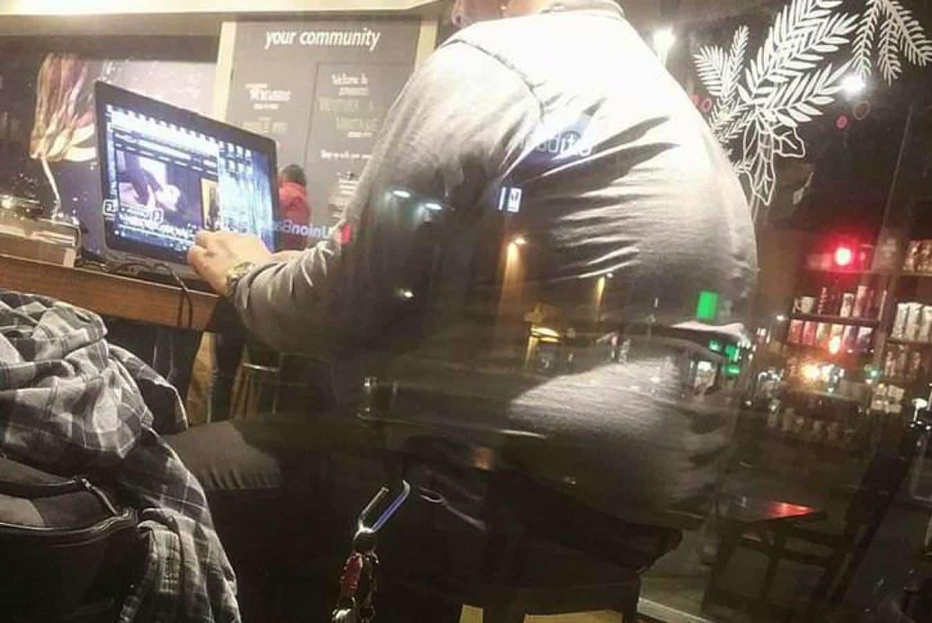 guy watching porn at starbucks